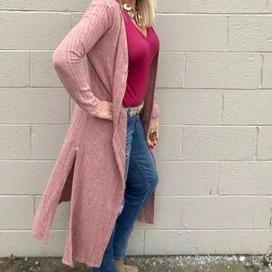 Umgee Open Front Long Cardigan Duster Sweater New
